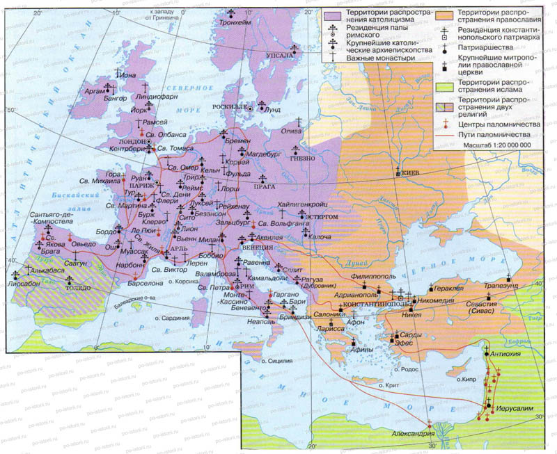 """Контурная карта """"Распространение католицизма, православия и ислама в Европе и на Ближнем Востоке в конце XI в."""""""