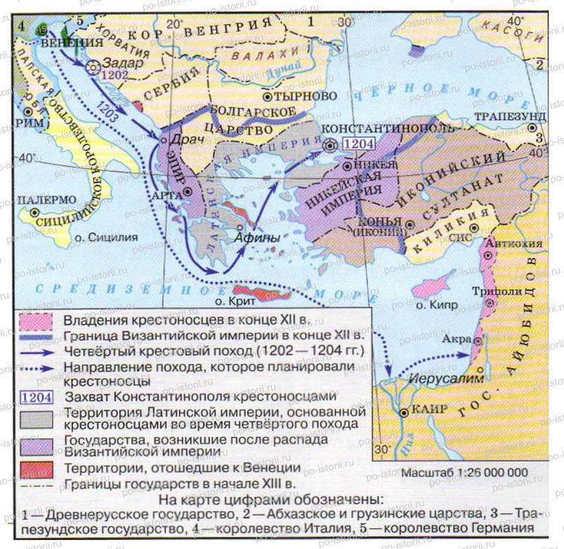 """Контурная карта """"Четвёртый крестовый поход (1203- 1204 гг)"""""""